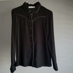 Promod Black Western Shirt With Silver embroidery